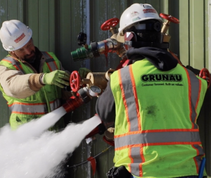 Grunau uses fire protection techniques at a jobsite.