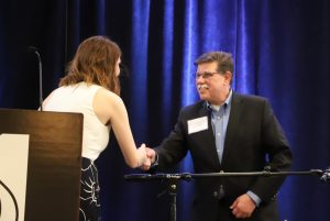 Accepting the Business of the Year Award for Grunau Company