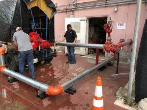 Grunau employees working on fire protection