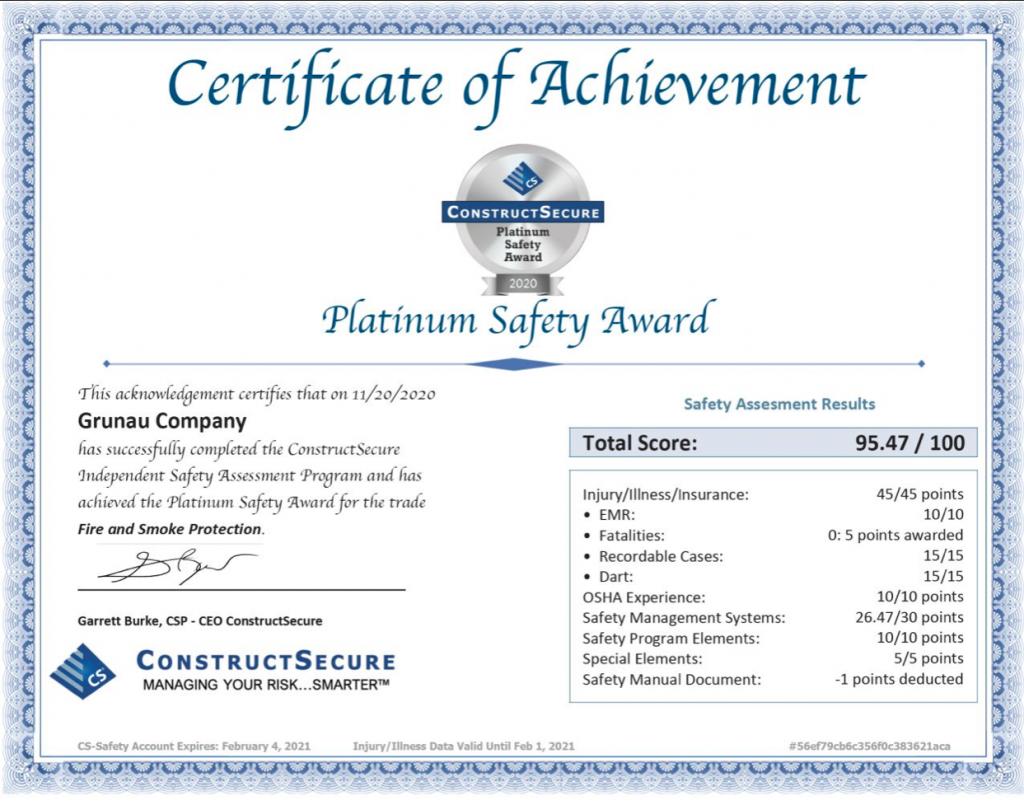 Grunau earns safety award