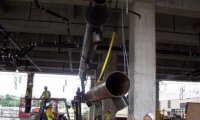 Installing fabricated pipe at Potawatomi Bingo Casino